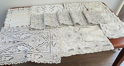 Vintage BULK LOT x 17 Fabric Embroidered FLORAL Craft Table Runners Placemats