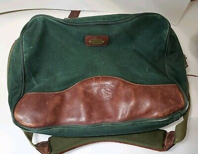 Vintage ORVIS Green Canvas Brown Leather Sportsmans Travel Gear Duffle Bag