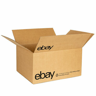 """NEW EBAY Cardboard Branded Boxes With WHITE Color Logo 8"""" x 6"""" x 4"""" - 20 Boxes"""