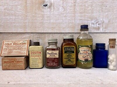Lot Of Vintage Antique Medicine Quack Belladonna Advertising Some Full Anacin