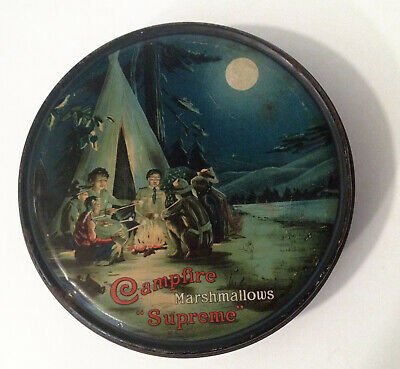 Antique 1910s Campfire Marshmallows boy scout tin great graphics EXC No reserve!