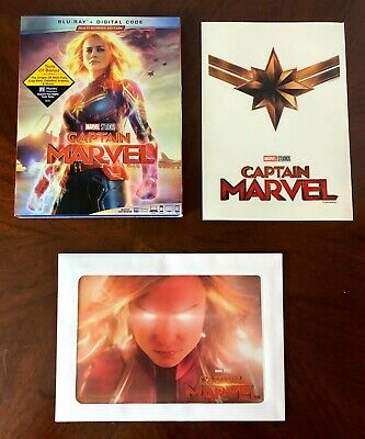 Captain Marvel Blu-ray Lot SlipCover Lithograph Decal Disney Club Exclusive