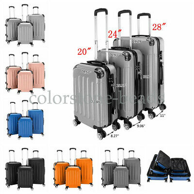 "3Pcs Luggage Set Travel Bag ABS Trolley Spinner Carry On Suitcase 20"" 24"" 28"""