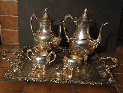 Sheridan Silver on Copper Tea Coffee Pot Set #2, Silverplate Footed Serving Tray