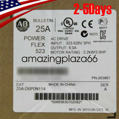 USA STOCK Allen-Bradley 25A-D6P0N114 PowerFlex 523 2.2kW (3Hp),3PH AC Drive FDA