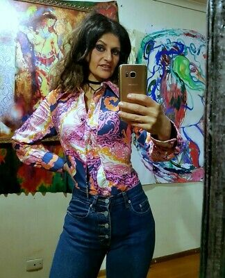 Vintage 70s Pink Psychedelic Paisley Woostock Disco Goddess Womens Mens Shirt