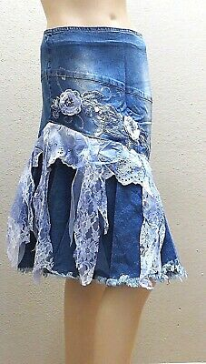 West 36 Denim Blue Jeans Stretchy Embroidery Beaded Pearl Lace Long Skirt 3133