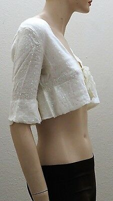 West 36 Snow Pearl White Sequence Ruffle Sleeve Knitted Short Bolero Jacket T200
