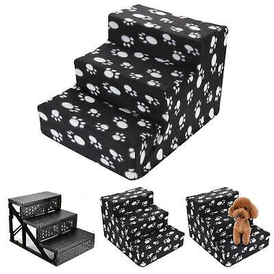 3 Steps Portable Dog Puppy Ladder Doggy Pet Soft Stairs Ramp&Washable Cover