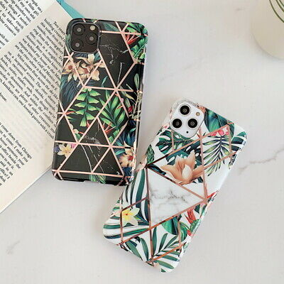 For iPhone 11 Pro XS Max XR X 8 7 6 Retro Flower Plating Silicone IMD Case Cover