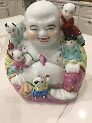 Chinese Famile Rose Porcelain Happy Laughing Buddha With Children Vintage