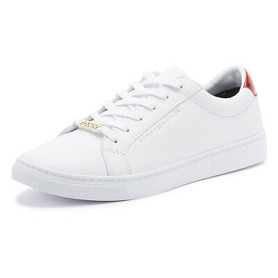Tommy Hilfiger Essential Metallic Back Womens White Trainers Ladies Casual Shoes