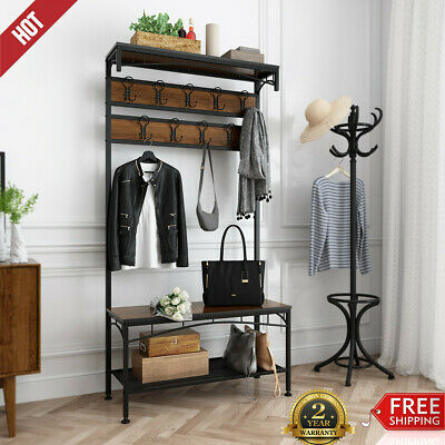 Fabulous Hall Tree Storage Bench Entry Stand Hat Coat Rack With Shelf Pabps2019 Chair Design Images Pabps2019Com