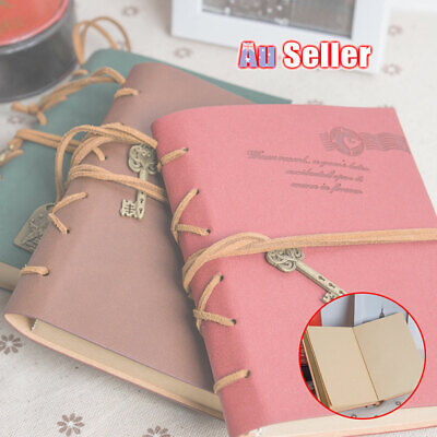 Retro Blank Pages Journal Bound Diary Leather Sketchbook Notebook Classic