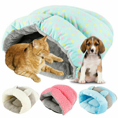 UK Pet Cat Dog Nest Bed Puppy Soft Warm Cave House Winter Sleeping Bag Mat Pad