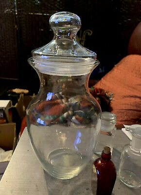 Large Antique Hand Blown Clear Glass Apothecary Drug Store Candy Jar Bottle