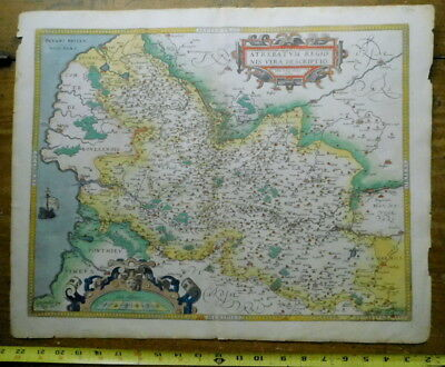 Original Antique Map 1570 ARTOIS ATREBATUM REGIONIS Ortelius France 16th century