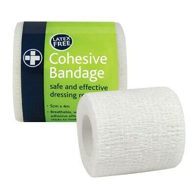 White Latex Free 5cm x 4cm Cohesive Bandage Sports Medical First Aid Wrap Tape