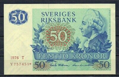 SWEDEN Europe 50 Kronor 1976 UNC p-53 star replacement note