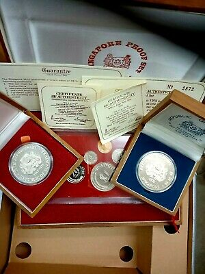 SINGAPORE 1975 PROOF SET. 1975 & 1976 Proof $10. Immaculate. Box and COA.