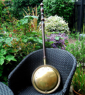 MID VICTORIAN BRASS WARMING PAN- TURNED HANDLE c1850 ^