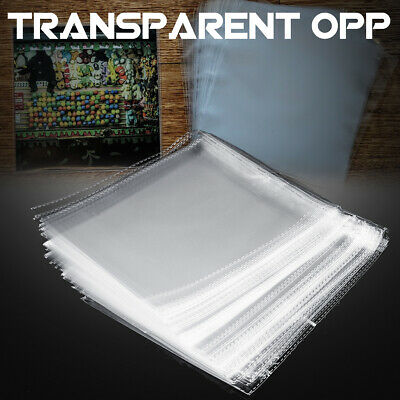 100Pcs OPP Sleeves CD Record Outer Cover Clear Storage Self Adhesive Bag 7.5inch