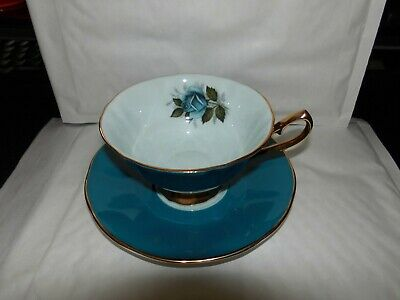 Elizabethan Fine Bone China 'MAJESTIC  ' Cup And Saucer BLUE   WITH   BLUE  ROSE