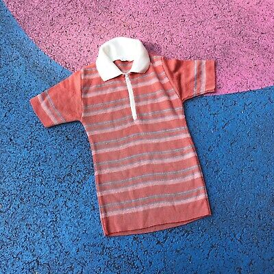 Vintage 1970s Kids Child Striped Peach Stretchy Mod Top 2-3 Y