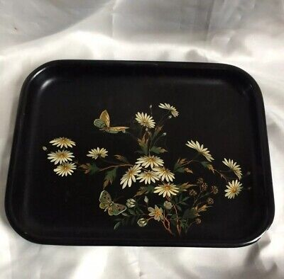 Victorian Papier Mache Tray,Hand Painted With Butterflys & Astas,31.5Cm Across