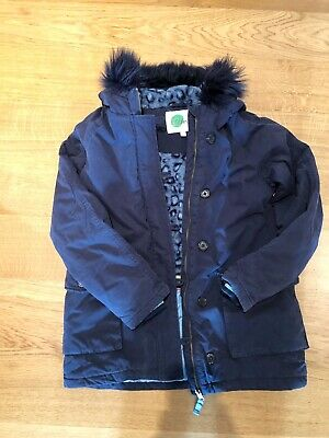 Girl's Mini Boden Lined Navy Coat With Detachable Fur Trimmed Hood Age 11-12 Yrs