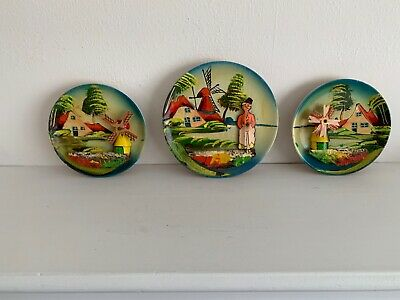3 Colorful Antique Dutch Wooden Round Raised Relief Plaques w/Turning Windmills