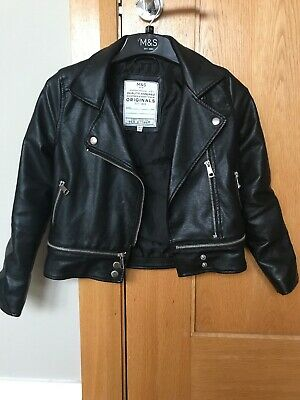 M&S Girls Lesther Look Biker Jacket Age 8-9 Yrs , Hardly Worn...lovely On