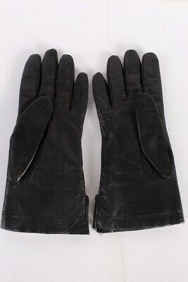 Vintage Leather Gloves  Warm Fur Lined Classy Womens UK  Black - G82