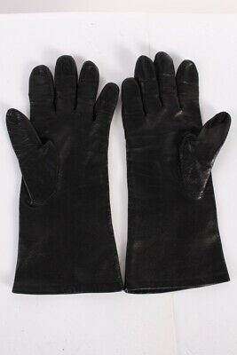 Vintage Leather Gloves Fleece Lined Smart Womens Size  Black - G76