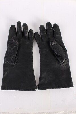 Vintage Leather Gloves Stylish Design Womens Fleece Lined   Black - G73