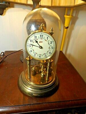 """Vintage 1950's Schatz """"49"""" 400 day Anniversary Glass Dome Table Clock GERMANY"""