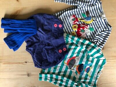 Mini Boden girls blue outfit cord bloomers appliqué stripe tops 2/3 fab cond