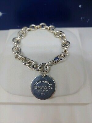 Please Return To Tiffany & Co. Sterling Silver Round Tag Bracelet