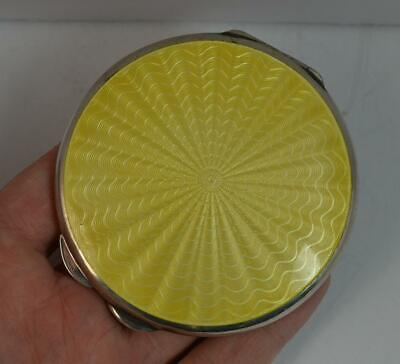 Wonderful Solid Silver & Yellow Guilloche Enamel Compact