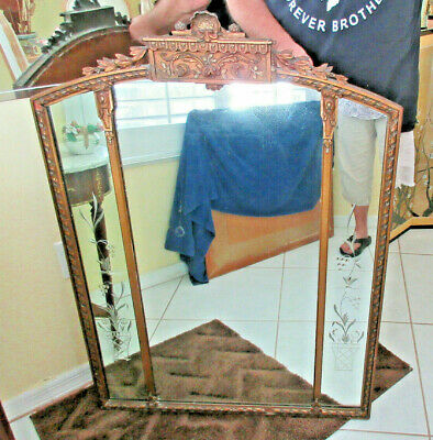 Large Antique Wall Mirror Etched Glass  3 Panels Ornate