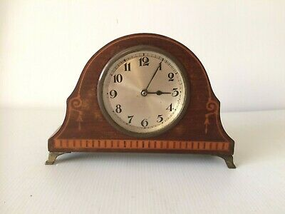 Antique Edwardian Wooden Inlaid Mantel Clock