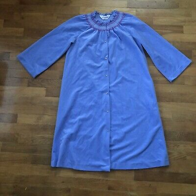 Vanity Fair Vintage Robe Housecoat Snap Front Soft Velour Size P (small?) Blue