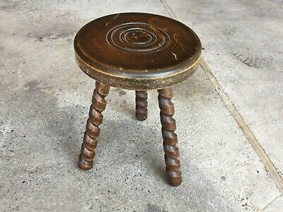 Antique Small Stool Wooden Tripod Spiral Vintage Deco Chalet Countryside