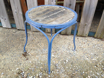 Antique Stool or Plant Stand Wooden and Wrought Iron Very Antique Deco