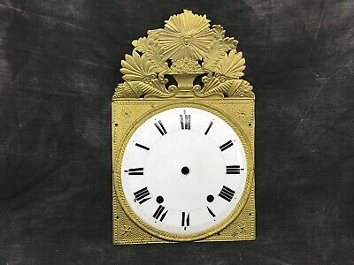 Antique Dial Sheet Metal Enamelled Pendulum Clock/Time Brass Regrowth Comtoise