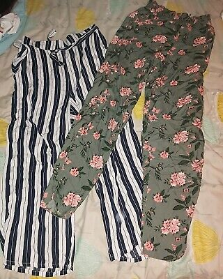 2x Girls trousers floral stripes. Aged 14 years h&m