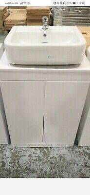 Sink + Vanity Unit,  2 Door Counter Top , High Gloss White,Tap + Pop Up Waste