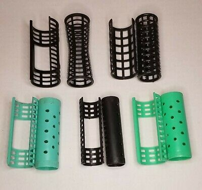 Vintage Retro Lot of 65 Plastic Rollers Curlers Snap-on Covers Mint~Black~Blue
