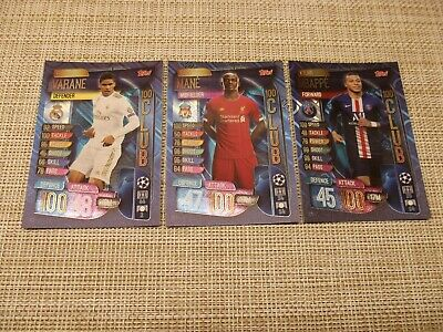 Topps Match Attax 19/20,Champions & Europa League, 100 Club,Varane,Mane,Mbappe