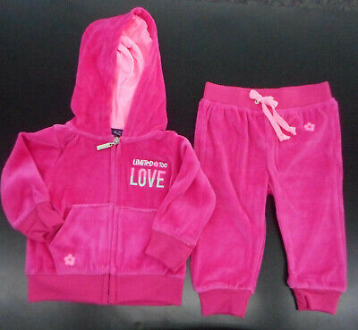 Infant Girls $38 Limited Too 2pc Pink Velour Jacket & Pant Set Sizes 12Mth. - 2T